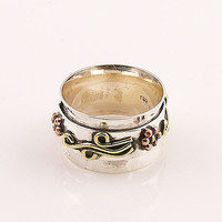 Spinner Ring - Three Tone Floral - Keja Jewelry