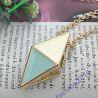 10 of Pretty retro gold 3d arrow with blue triangle necklace pendant jewelry punk style