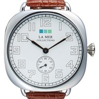 Women's La Mer Collections Cushion Case Leather Strap Watch, 51mm - Brown/ Silver