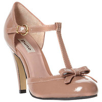 Buy Dune Candstorm Patent T-Bar Bow Trim Open Court Shoes, Taupe online at JohnLewis.com