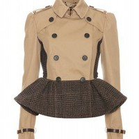 mytheresa.com -  Burberry Prorsum - TRENCH JACKET WITH TWEED PEPLUM  - Luxury Fashion for Women / Designer clothing, shoes, bags