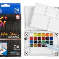 Amazon.com: Sakura XNCW-24N 24-Piece Koi Assorted Water Colors Field Sketch Set with Brush: Arts, Crafts & Sewing