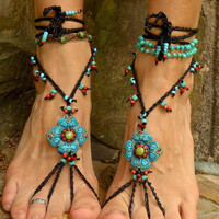 black BELLY DANCE BAREFOOT sandals hand made shanti collection foot jewelry photography props hippie bohemian