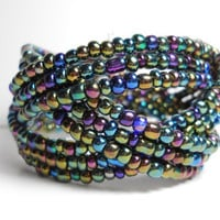 Braided Cuff Bracelet Metallic Blue Green and Purple Beaded Cuff Bracelet