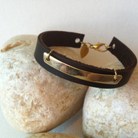 Leather bracelet, leather cuff bracelet with gold bar charm