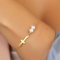 Sideways cross bracelet, Pearl bracelet, gold cross necklace, 14k gold filled, white pearl bracelet, bridesmaid bracelet, wedding, &quot;Kastalia