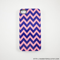 iphone 4 Case, iphone case, iphone 4s Case, iphone 4 Cover, Hard iphone 4 Case - Chevron Zig Zag in Pink Blue