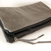 Stormy Days - Reversible  Fold-over Leather Clutch -
