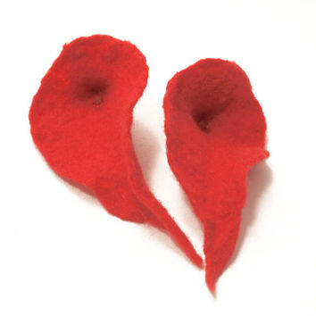 Felt jewelry - felted earrings -floral - red