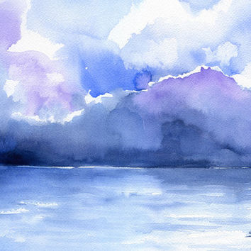 Abstract Ocean Watercolor Painting - 4 x 6 - Giclee Print - Abstract Painting - Ocean Art - Sea Painting