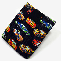 Hand Crafted Tablet Case from Race Cars Cotton Fabric/ Tablet Case for iPad, Kindle Fire HD, Samsung Galaxy, Nook HD, Google Nexus,