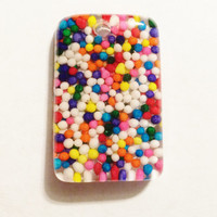 Rainbow Sprinkles Pendant, Real Nonpareils in Resin Pendant