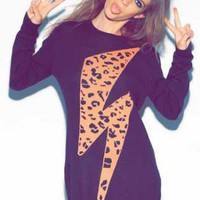 Black Sweater Dress with Cheetah Lightning Bolt Front