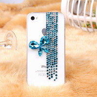 Blue Pearl Butterfly  iPhone 5  case 3D case Pearl case   iphone 4 iphone 4s case