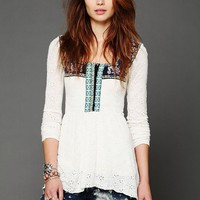 Free People Folk Embroidered Eyelet Babydoll Top
