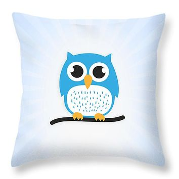 """Sweet and cute owl Throw Pillow 14"""" x 14"""""""