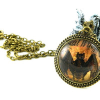 Necklace, Bat, Goth, Halloween Glass on antique bronze