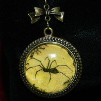 Necklace, Spider Goth, Halloween Glass on antique bronze