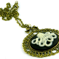 Steampunk Cameo Necklace Squid Bronze