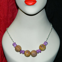 Beaded Boho Necklace Chunky Ceramic, Brown and Purple on Silver Chain