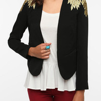 Embroidered Leaves Blazer