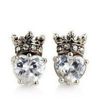 NEW Authentic Juicy Couture CZ Pave Heart Silver Crown Studs Earrings