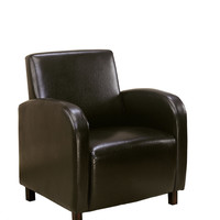 Dark Brown Leather-Look Accent Chair