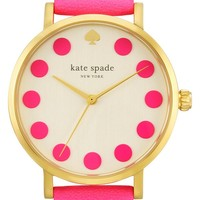 Women's kate spade new york 'metro' dot dial leather strap watch, 34mm - Bazooka Pink