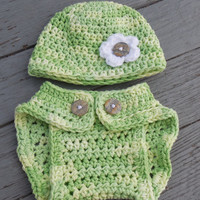 Crochet Diaper Cover and Beanie, Baby Girl Varigeted Cotton Soaker , Crochet Photo Prop, Cotton Diaper Cover Set