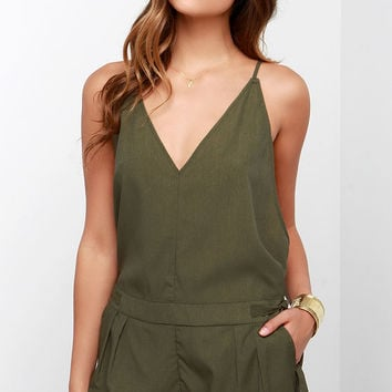 Love You Forever Olive Green Romper
