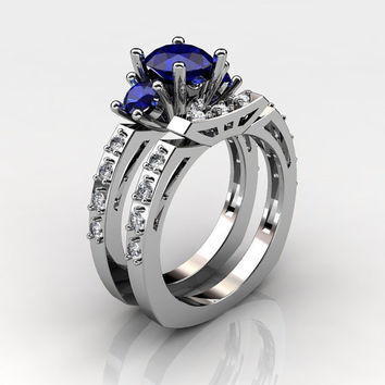French 14K White Gold Three Stone 1.0 Carat Blue Sapphire Diamond Engagement Ring Wedding Band Set AR112S-14KWGDBS