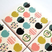 Apple Coasters, Ceramic Tile Set, Fruit Orchard, Amelia King, Food, Table Drink Protector
