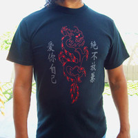 Mens Black Shirt - Asian Inspired Red Kanji Dragon - Small, Medium, Large, Xl, 2xl, 3xl Tribal Tattoo Inspired