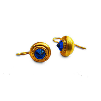 Beautiful Pyramid Gold Plated Earrings With Blue Sapphire Zircon   Rare Handcrafted Jewelry