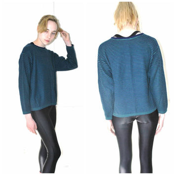 striped GRUNGE sweater vintage early 90s blue + green stripe RELAXED fit pull over JUMPER medium os
