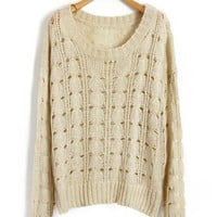 Beige Cable Knit Tops with Cut Out Design