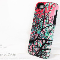 "Artistic Pink & Green iPhone 5 5s Case - Tree Blossom iPhone 5 Cover - ""Aqua Blooms"" TOUGH iPhone 5 Case"