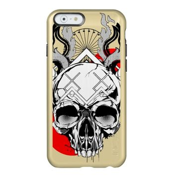 Skull and Flames Vector Shine iPhone Case
