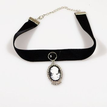 Black Lace Victorian Cameo Lolita Length Collar Necklace 12.48in