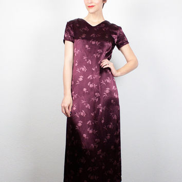 Vintage 90s Dress Burgundy Oxblood Red Maxi Dress Soft Grunge Dress Asian Floral 1990s Dress Gap Dress High Slit Hipster Dress S M Medium