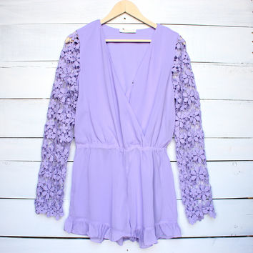 floral escape lavender crochet sleeve romper women's spring summer outfits clothing playsuit gypsy hippie southern purple urban rompers boho chic bohemian