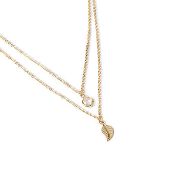 Etched Leaf Layered Charm Necklace
