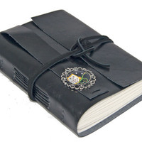 Black Faux Leather Journal with Owl Cameo Bookmark  - Ready To Ship -
