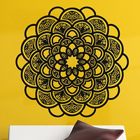 Wall Decals Vinyl Decal Sticker Bedroom Home Interior Design Art Mural Mandala Indian Pattern Amulet Floral Design Sun Flower Decor KT74 - Edit Listing - Etsy