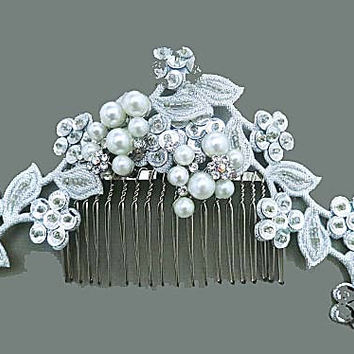 Wedding Lace Headpiece,  Bridal Hair Comb, Bridal Pearl Hairpiece, Wedding Hair Accessory, Ivory Pearl, Silver, KATIA