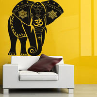 Wall Decals Vinyl Decal Sticker Home Interior Design Art Mural Living Room Decor Decorated Elephant Indian Pattern Om Oum Sign Ganesha KT62