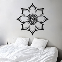 Wall Decals Vinyl Decal Sticker Bedroom Home Interior Design Art Mural Mandala Indian Pattern Amulet Floral Design Sun Flower Om Sign KT63