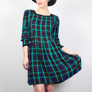 Vintage 90s Dress Blue Green Plaid Dress Flannel Shirt Dress 1990s Dress Soft Grunge Dress Babydoll Dress Dolly Mini Dress M Medium L Large