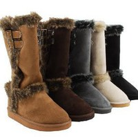 Amazon.com: Furry Shearling Faux Suede Double Buckle Boots Vegan: Shoes