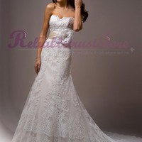 Cute A-line Sweetheart Lace Beach Wedding Dress-$365.98-ReliableTrustStore.com